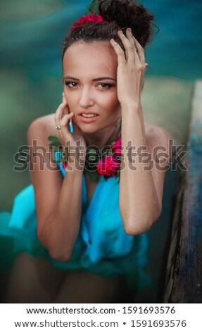 Kadın model mavi elbise sahne makyaj poz Stok fotoğraf © ElenaBatkova