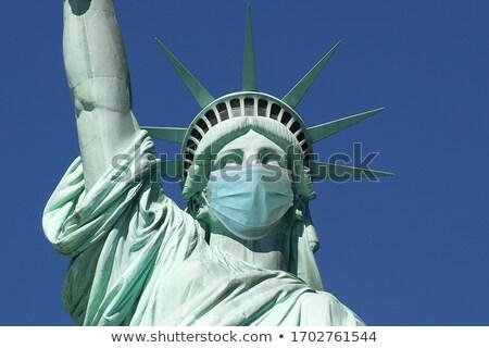 Heykel özgürlük maske bayrak ikon örnek Stok fotoğraf © patrimonio