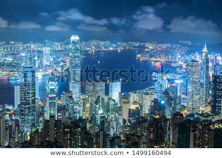 Légifelvétel megvilágított Hongkong sziluett Kína városkép Stock fotó © dmitry_rukhlenko
