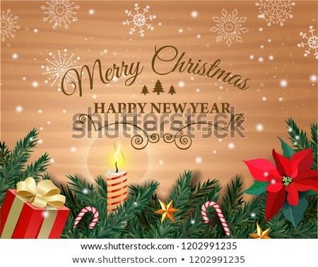 Christmas kartkę z życzeniami karmel łuk papieru Zdjęcia stock © LoopAll