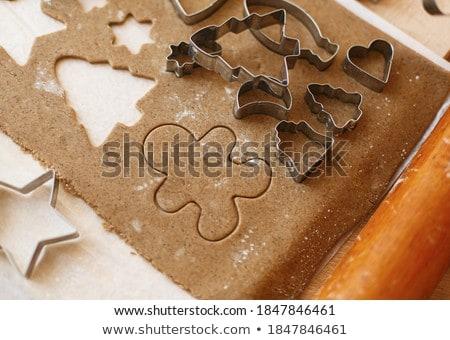 Mézeskalács készít sütik karácsony csillag formák Stock fotó © ElinaManninen