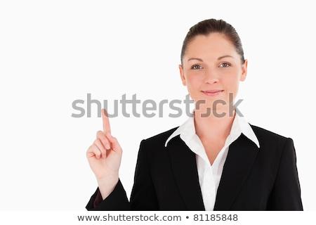 ブルネット · スーツ · ポインティング · アップ · 白 · セクシー - ストックフォト © wavebreak_media