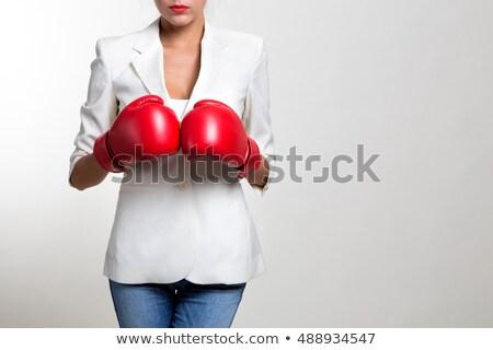 クローズアップ 肖像 若い女性 着用 ボクシンググローブ 白 ストックフォト © wavebreak_media
