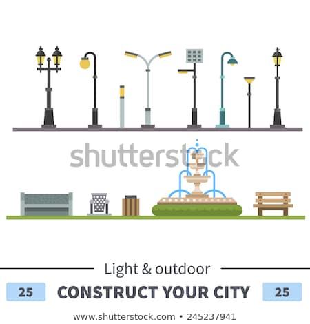 lâmpada · postar · pormenor · belo · blue · sky · luz - foto stock © zzve