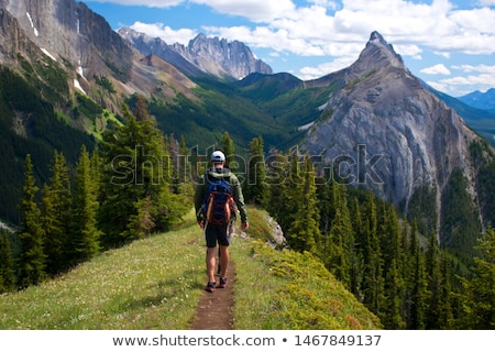 Young woman with backpack walking rocky valley Stock photo © photobac