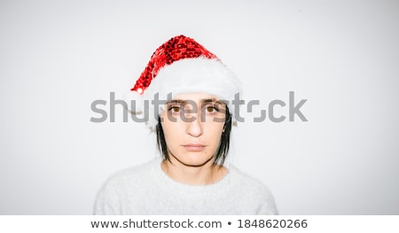 Beautiful mrs. Santa close-up portrait. Isolated on white. Stock photo © Nejron