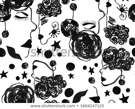 beautiful woman with rose over abstract vintage background stock photo © nejron