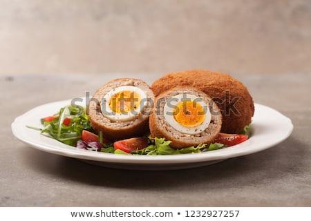 bife · ovo · gema · restaurante · pão · refeição - foto stock © yelenayemchuk
