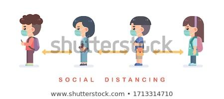 Erkek kızlar ayakta örnek gülümseme mutlu Stok fotoğraf © bluering