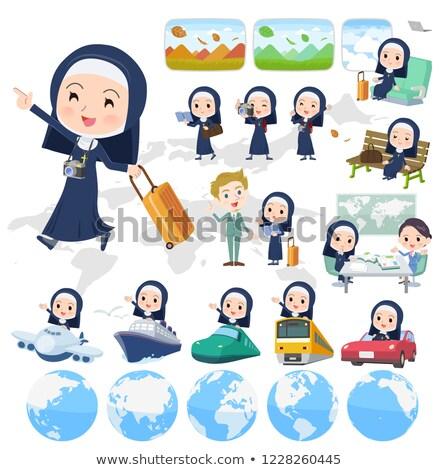 Сток-фото: монахиня · набор · женщины · лодках · вектора
