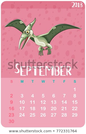 Calender template for September with pterosaur Stock photo © colematt