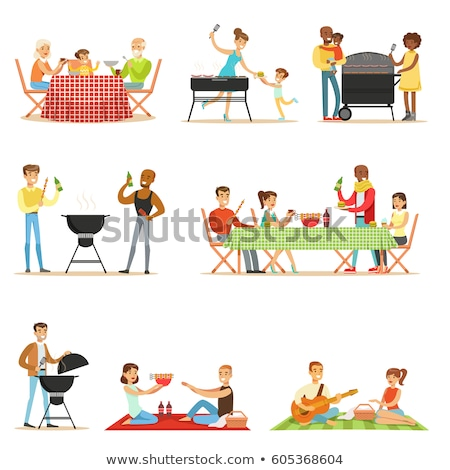 People Cooking Outdoor, Frying Meat, Picnic Vector Stock photo © robuart
