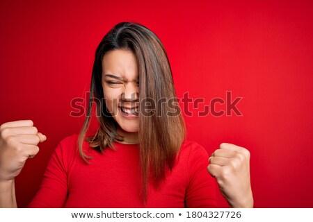 Feliz rojo camiseta personas Foto stock © dolgachov