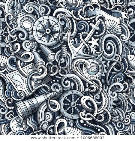 Cartoon cute bazgroły morskich Zdjęcia stock © balabolka