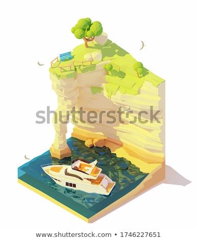 Vecteur isométrique yacht falaise moteur bleu Photo stock © tele52