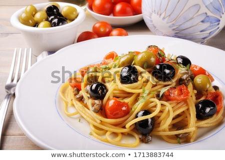 Spagetti makarna kiraz domates zeytinyağı sarımsak biberiye Stok fotoğraf © DenisMArt