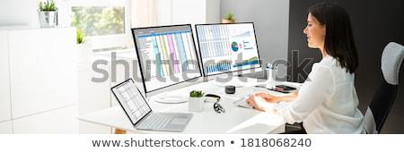 女性 従業員 アナリスト 作業 スプレッドシート ソフトウェア ストックフォト © AndreyPopov