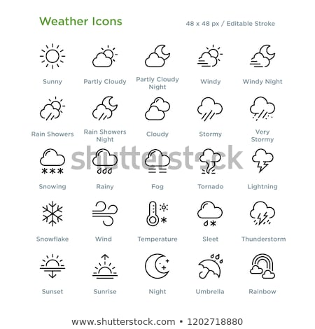 Wind and umbrella. Icon. Weather glyph vector illustration Stock photo © Imaagio
