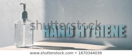 Main hygiène bannière signe virus prévention Photo stock © Maridav