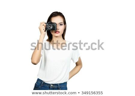 Photographer woman Asian girl taking photos with slr camera professional photography looking at San  Stock photo © Maridav