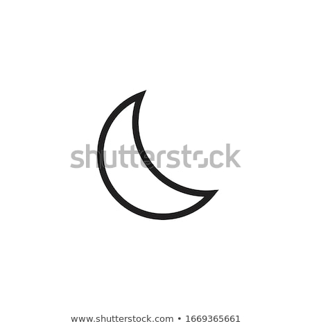 Crescent moon, evening or nighttime line art for apps and websites. Night Mode. Stock Vector illustr Stock photo © kyryloff