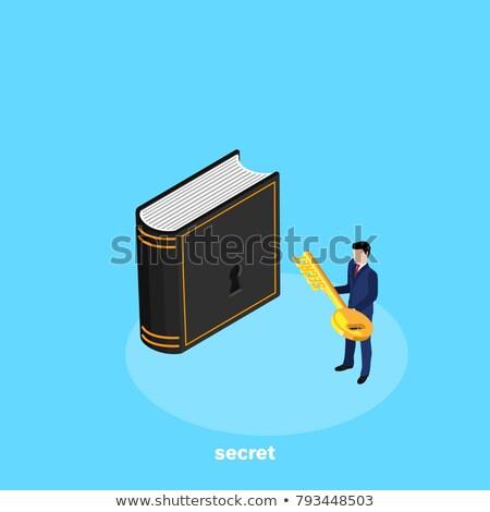 Businessman Holding Key isometric icon vector illustration Stock photo © pikepicture