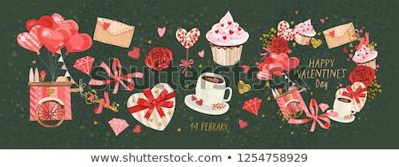 Szett valentin nap tárgyak szeretet ikonok dizájn elem Stock fotó © Ecelop