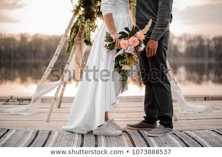 Paar · stehen · See · schönen · Hochzeit - stock foto © chesterf