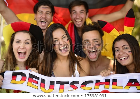 Lány Németország futball ventillátor arc sport Stock fotó © orensila