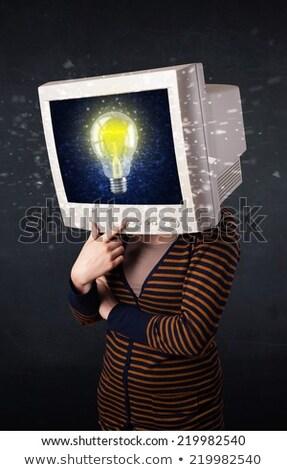 bilgisayar · monitörü · ekran · genç · kafa · bilgisayar - stok fotoğraf © ra2studio