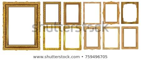 Fényképkeret fa asztal izolált fehér otthon háttér Stock fotó © karandaev