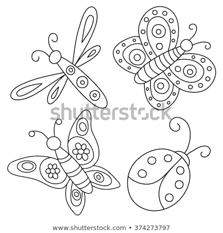 Stamp, butterfly on flower. Stock photo © FER737NG