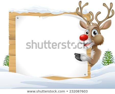 Rajz rénszarvas felirat illusztráció szarvas állat Stock fotó © cthoman