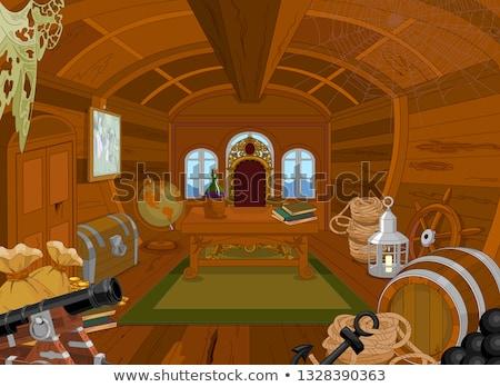 Pirata cabine ilustração globo barco navio Foto stock © Dazdraperma