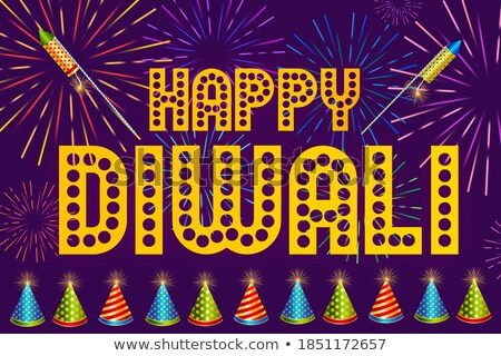 happy diwali festival banner with colorful firework design Stock photo © SArts
