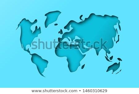 Blue papercut cutout world map concept Stock photo © cienpies