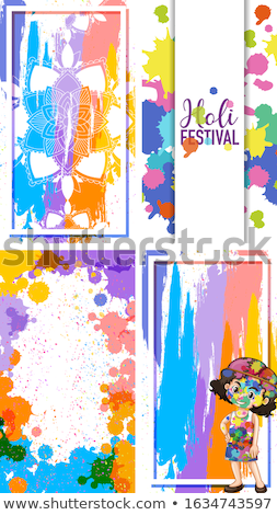 Four frame designs for Holi festival with colorful watercolor pa Stock photo © bluering