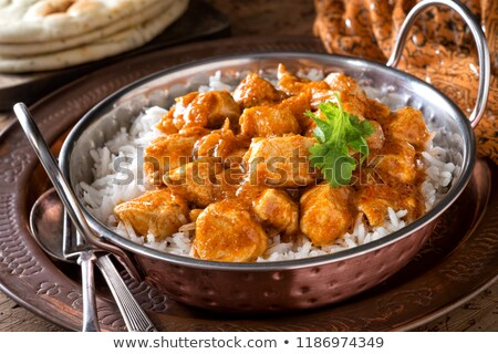 Lezzetli çanak kremsi tavuk pirinç yemek Stok fotoğraf © joannawnuk