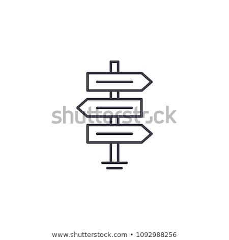 Road Wooden Signposts Icon Vector Outline Illustration Stock photo © pikepicture