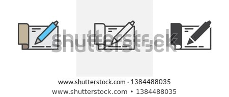 to fill out check with pen icon vector outline illustration Stock photo © pikepicture