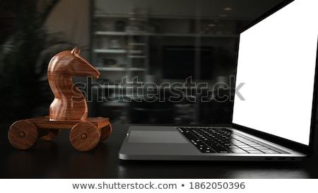 Trojan caballo cuaderno mesa 3d Foto stock © limbi007