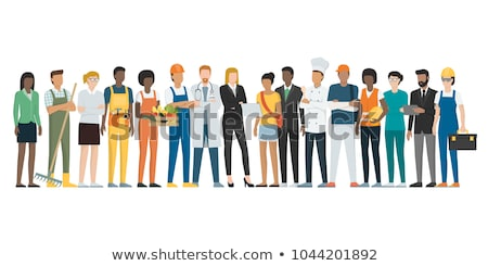 Image of multiethnic young business workers standing together at Stock photo © deandrobot