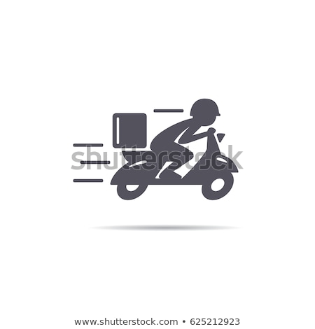 Fast and free delivery logo with bike man and courier Stock photo © bluering