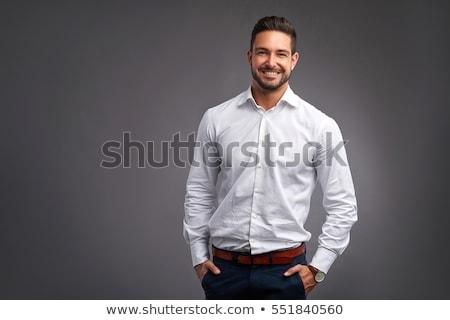 fiatal · jóképű · férfi · fehér · póló · sport · modell - stock fotó © Elmiko