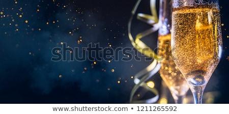 dwa · szampana · okulary · czerwony · christmas · śniegu - zdjęcia stock © hitdelight