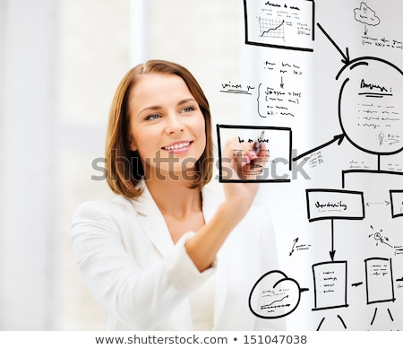 Business plan - woman drawing Stock photo © REDPIXEL