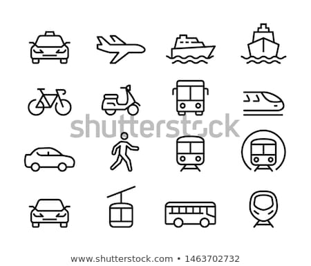 Stock photo: Set of transport icons - motorcycles