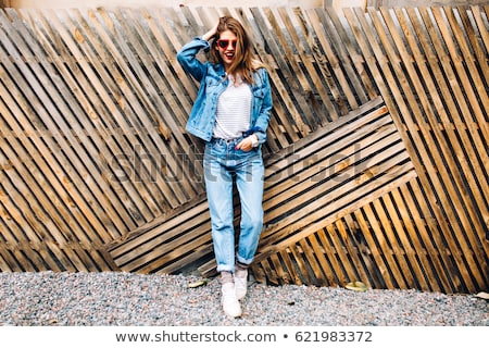 portrait · belle · femme · denim · costume · isolé · fille - photo stock © acidgrey
