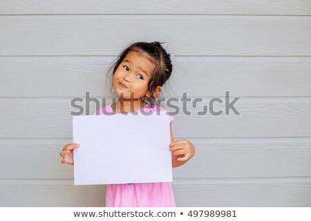 sonriendo · familia · tarjeta · en · blanco · blanco · tarjeta - foto stock © ia_64