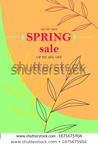 свежие · весны · предлагать · зеленый · цветок · Label - Сток-фото © marinini